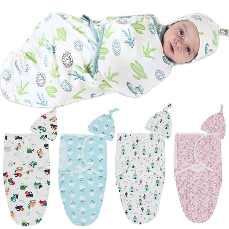 2Pcs/Set Muslin Baby Swaddle Blanket And Cap 100% Cotton Infant Baby Warp Newborn Envelope Swaddling Swaddleme Sleep sack