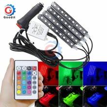 4 Uds 9 LED tira de luz Kit Auto Interni RGB Color Control de música inalámbrico Control Automático 7 colores para atmósfera SMD5050