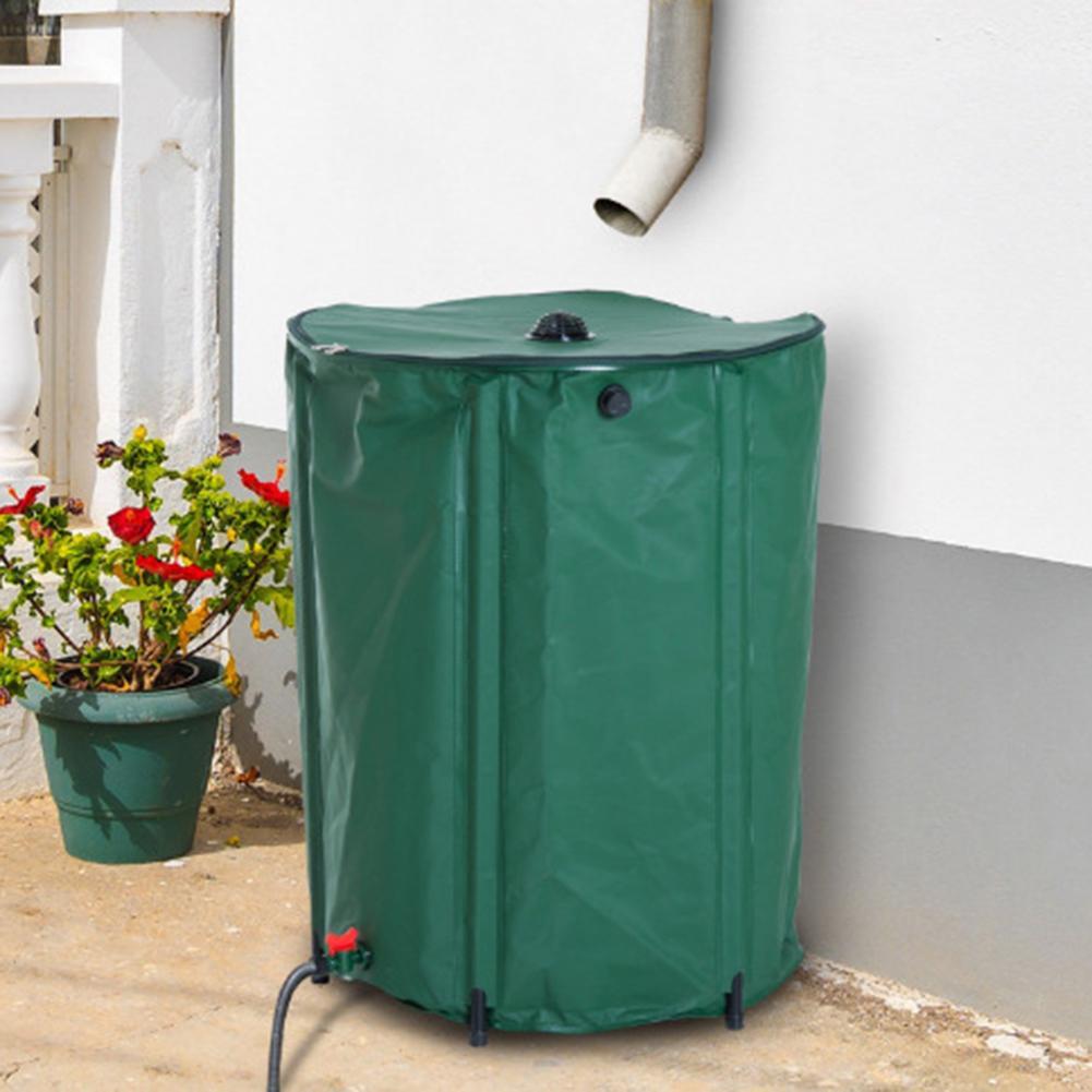 Barril de lluvia de 100l, tanque de agua de lluvia plegable para la cosecha de agua de lluvia, contenedor de recolección de lluvia plegable de PVC con filtro, Kit de espiga