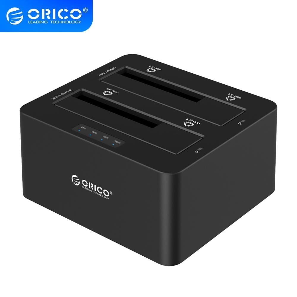 Внешний жесткий диск ORICO Dual Bay SATA на USB 3,0, док-станция для 2,5/3,5 hdd с функцией дубликатора/клона-черный