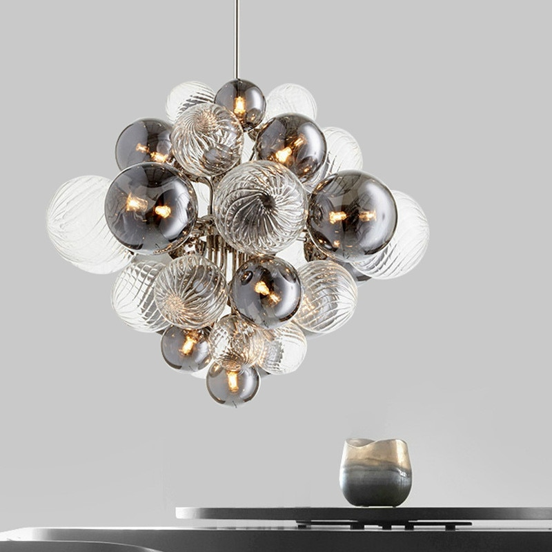 Nordic Luxury Glass Globe G4 LED Chandelier Living Room Metal Pendant Chandelier Lighting Indoor Luminarias Fixtures Lamparas
