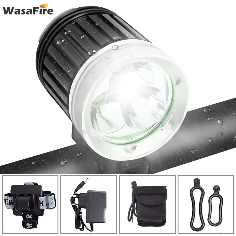 Wasafire 3 * xml t6 luz de bicicleta 4000 lúmen 3 modos led luz dianteira da bicicleta mtb farol + 18650 bateria carregador