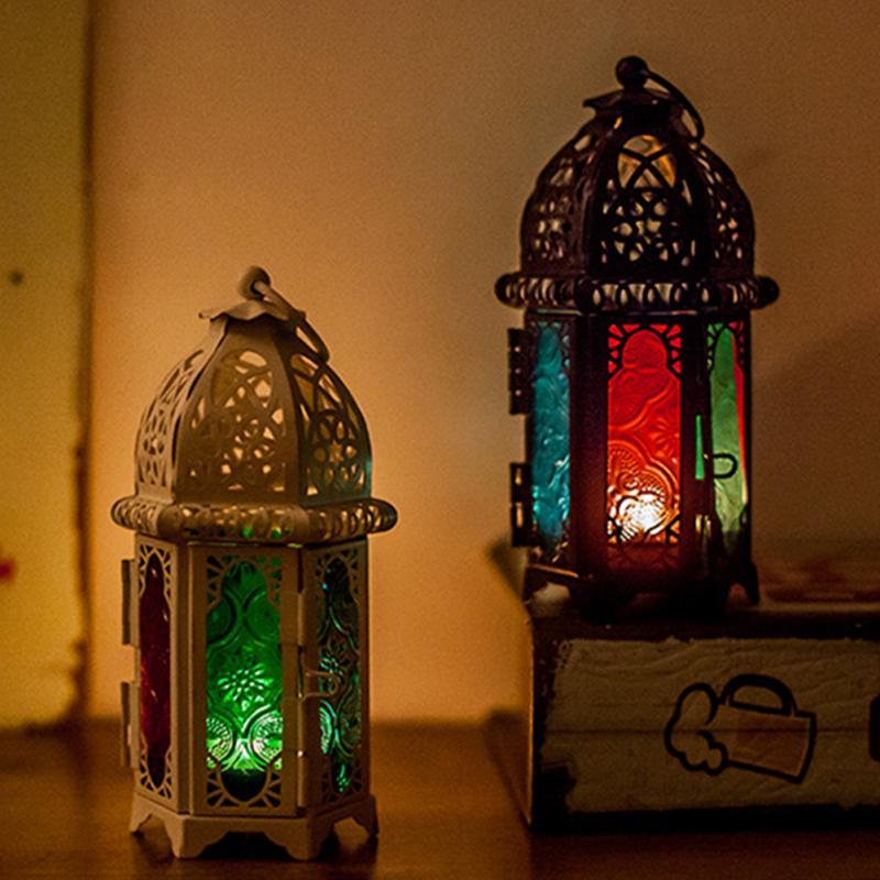 פנס מרוקאי פמוט נדר תליית פנס אי פעם מסיבת חתונה קישוט בציר פמוטים זכוכית פנס מנורה #734