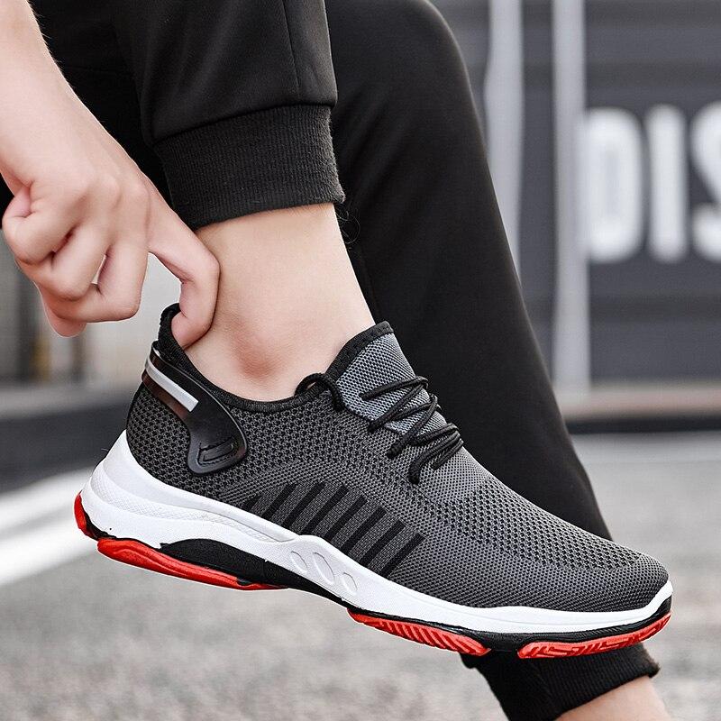 2021 para Homens Jovens Vulcanizar Sapatos Tênis Desgastar-oposição Não-deslizamento Masculino Malha Tenis Tamanho Grande 39-45 Respirável Esportes Casuais