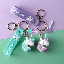2020 Cartoon Soft PVC Unicorn Keychains Rubber 3D Cute Fairytale Anime Horse Key Chain Kids Toy Pendant KeyRings Trinket Gifts