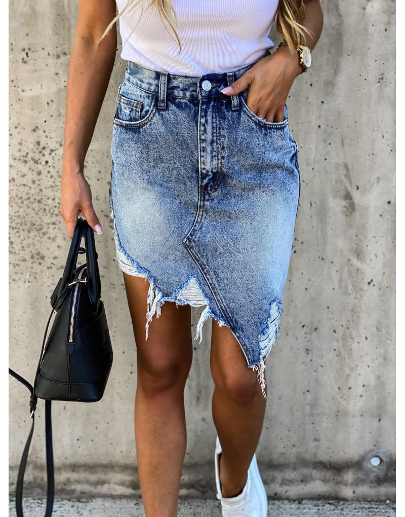 Brand New Woman Trendy Retro Washed Irregular Denim Skirt Female Summer High Waist Denim Skirts Elastic Bodycon Hip Saia jeans