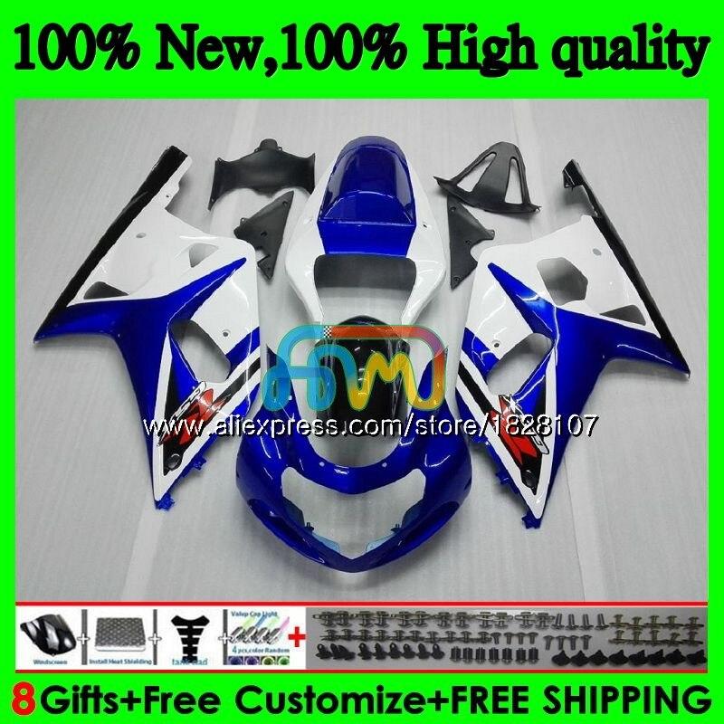 K1 cuerpo para SUZUKI GSXR-750 GSXR600 azul blanco caliente 01 02 03 35BS.6 GSXR 750 K 5 600 01-03 CC GSX-R600 GSXR750 2001, 2002 de 2003 carenado