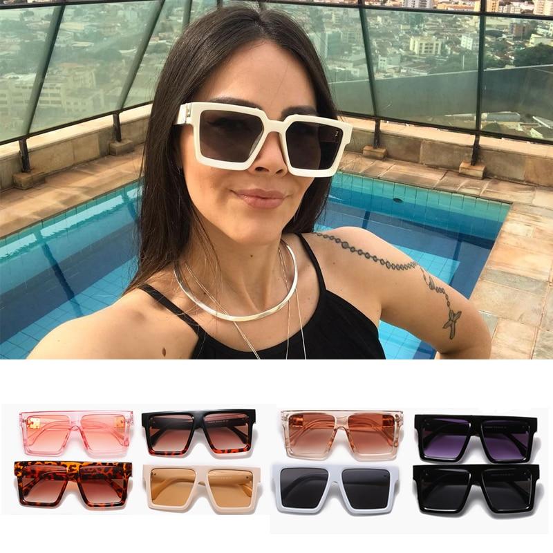2021 Fashion Oversized Sunglasses Women Men Square Dropshipping Sunglasses Men Vintage Shield Steamp