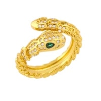 funmode hot sale snake gold color punk style adjustable rings for women girls wholesale micro cz pave bijoux femme fr34