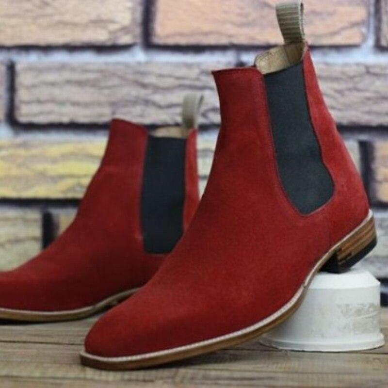Демисезонные мужские классические деловые ботинки в британском стиле, красные ботильоны из искусственной замши на шнуровке, молодежные мо...