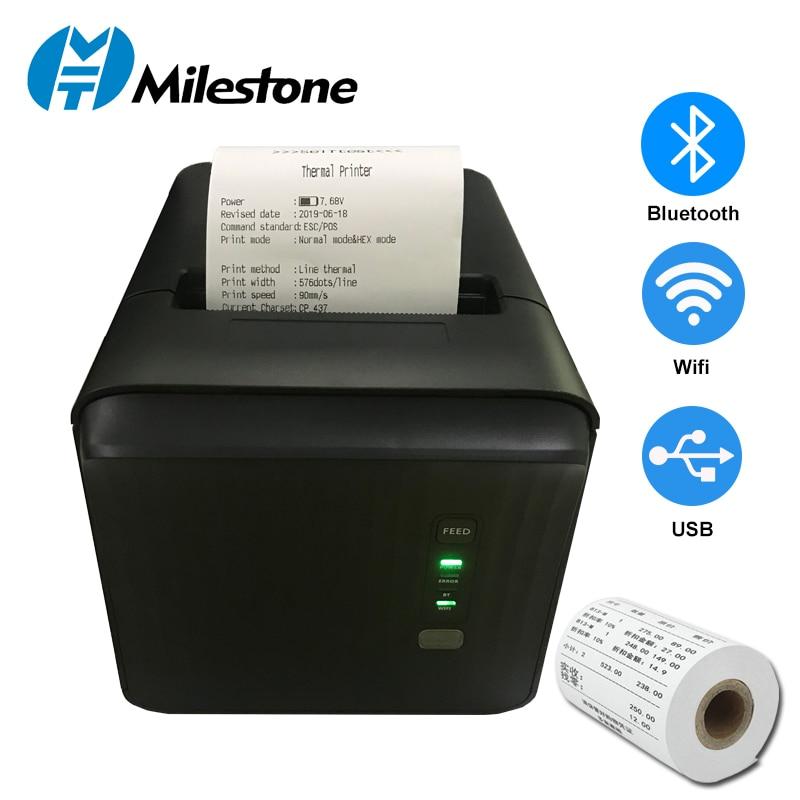 Milestone Thermal Receipt Printer 80mm POS Systems 3 Inch bill receipt Bluetooth USB Restaurant machine with Kitchen Printer