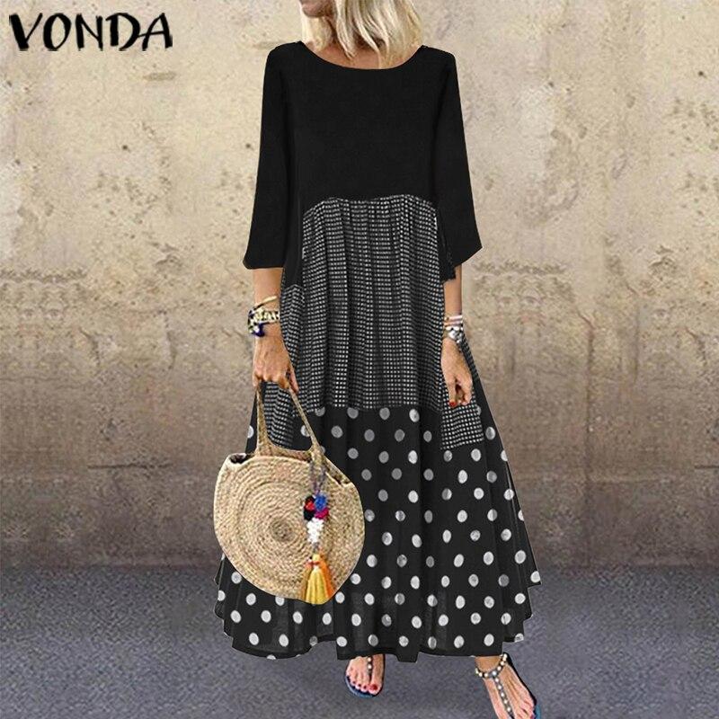 Maxivestido largo de verano VONDA 2020 Casual cuello redondo manga corta Vintage Dot impreso vestidos de fiesta suelto bohemio vestido de talla grande