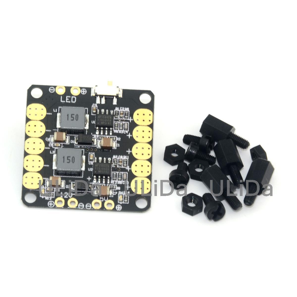 Mini Placa de distribución de energía 4 en 1 PDB + 5V/12V BEC + módulo de alimentación + interruptor LED para FPV Quadcopter DRONE CC3D controlador de vuelo