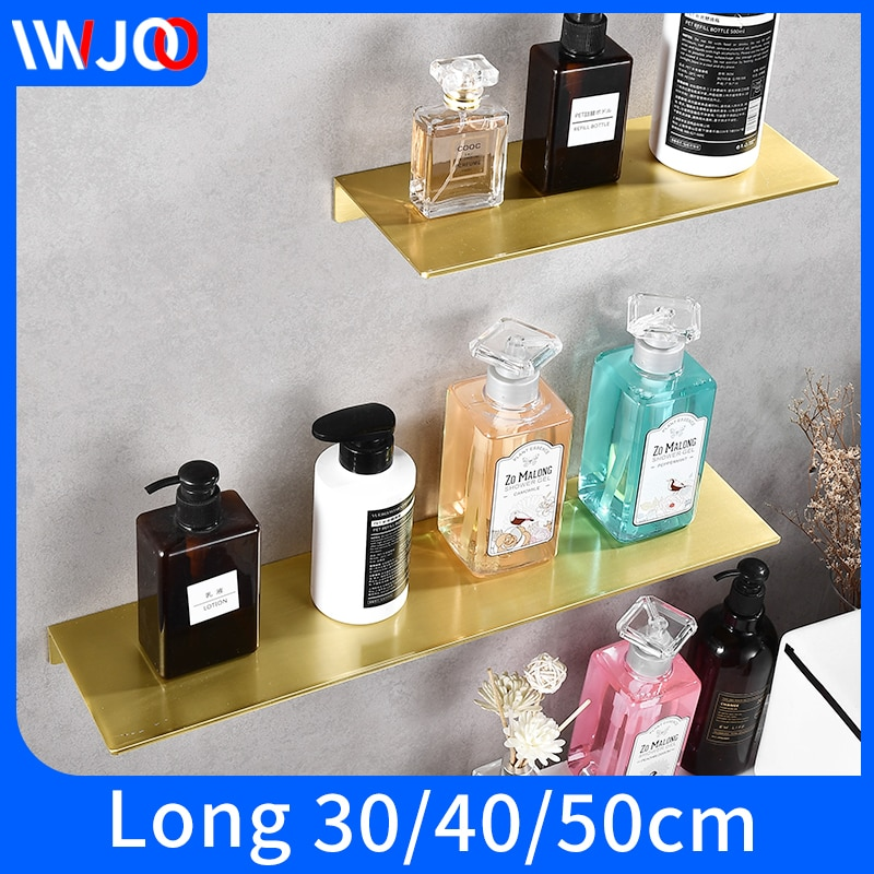 modern bathroom aluminum gold 50cm shelf wall mount storage rack shower shampoo holder  home decoration accessories