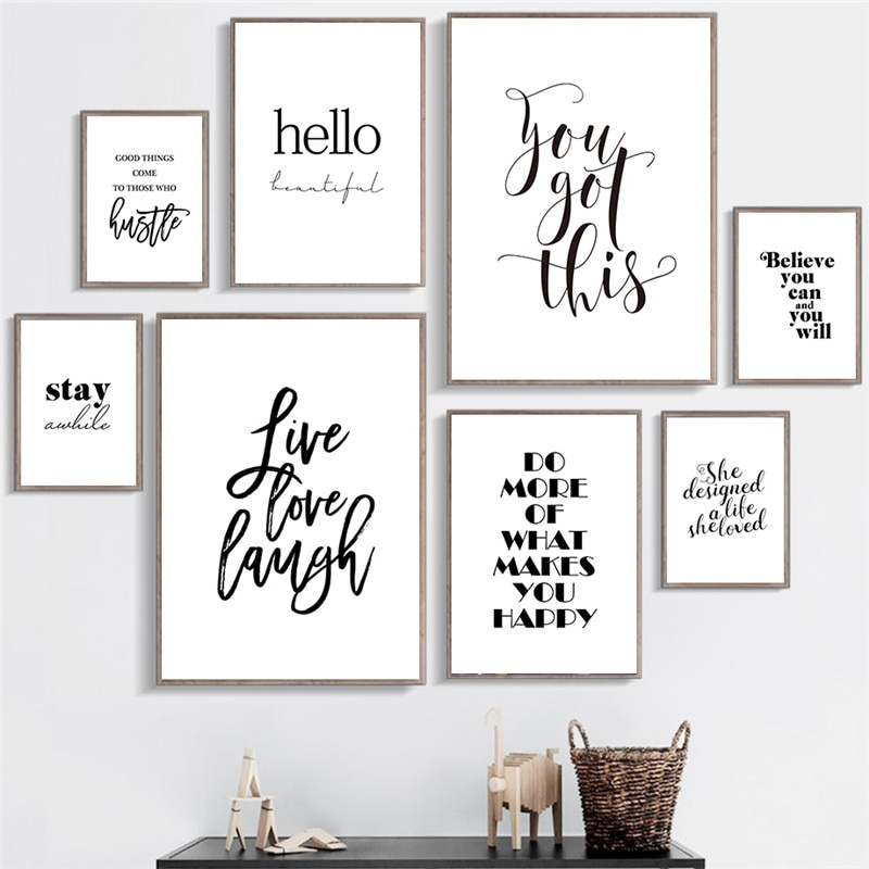 Citas inspiradoras pared arte lienzo pintura negro blanco pared póster impresiones para sala de estar decoración moderna para el hogar