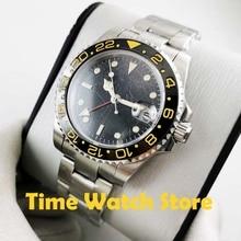 40mm GMT 3804 Automatic wrist watch men sapphire glass waterproof  black strile dial orange luminous ceramic bezel