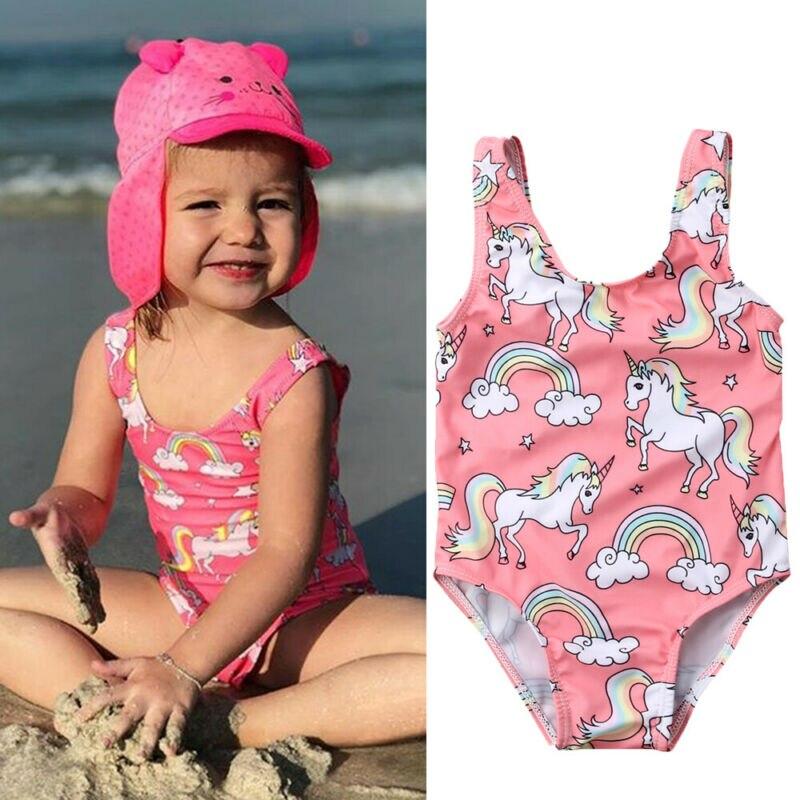 2020 verano lindo 0-3 años recién nacido niñas traje de baño niñas ropa de baño unicornio natación trajes de baño