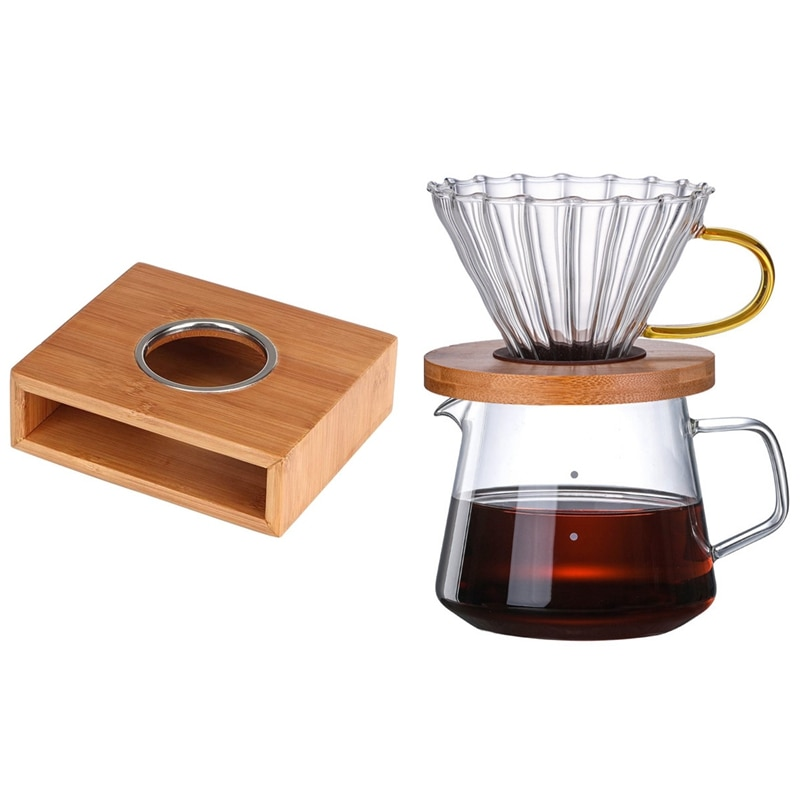 حار 1 مجموعة 600 مللي سميكة زجاج بوروسيليليك مرتفع إبريق قهوة اليد وعاء بالتنقيط و 1x مع ارتفاع درجة الحرارة مقاومة إبريق الشاي دفئا