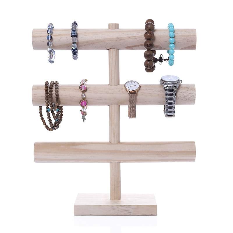 T Bracelet Holder Jewelry Showcase 3layer Necklace Display Storage Watch Stand Bangle Organizer for