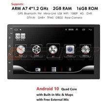Android 10 2 Din auto radio Multimedia reproductor de vídeo Universal estéreo para coche GPS mapa para Nissan Hyundai Kia toyota