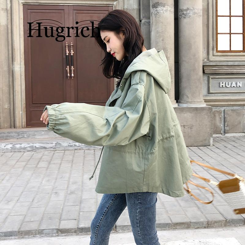 2020 New Loose Trench Coat Spring Autumn Women's Hooded Black Green Windbreaker Outerwear Female Casual Trench Coat