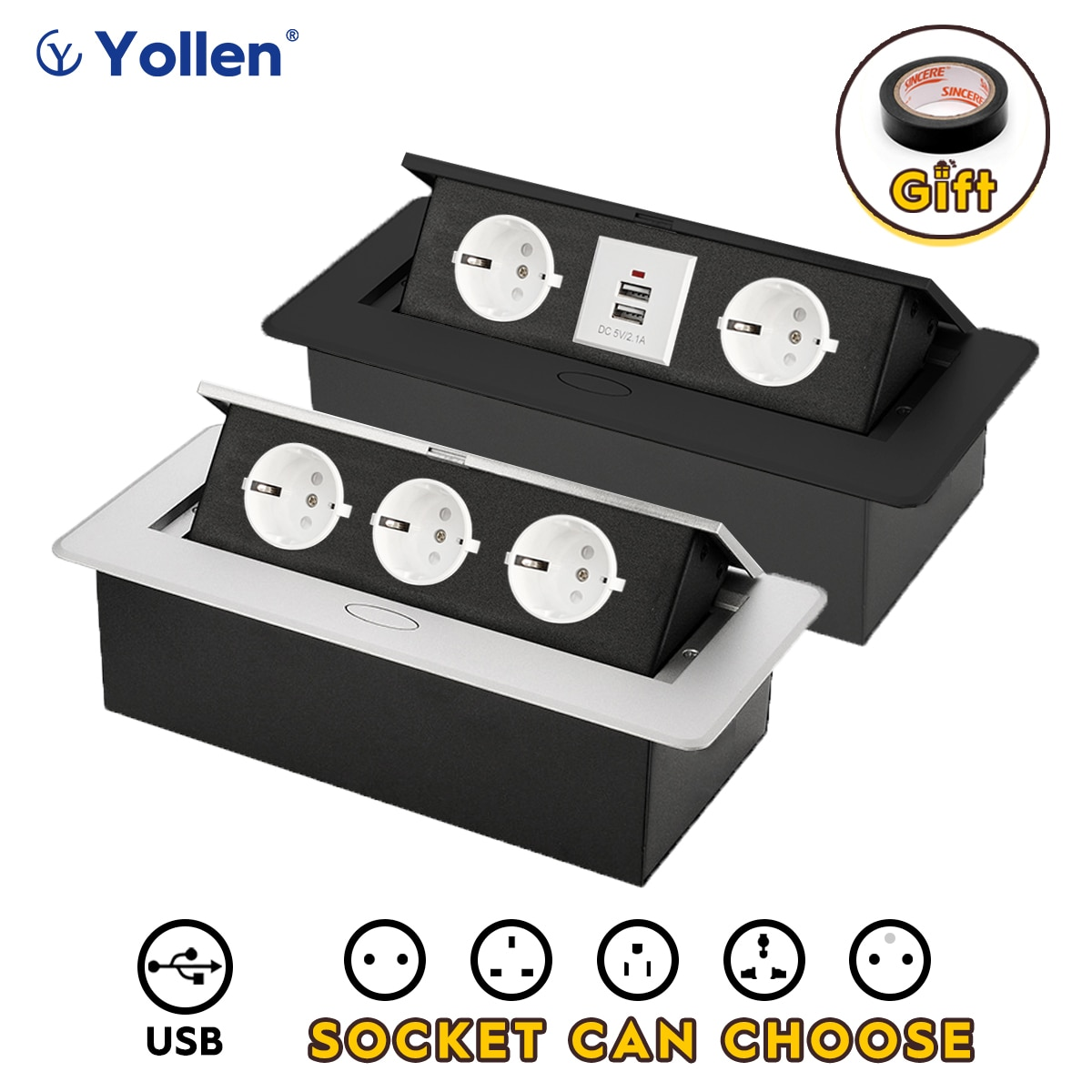 Aluminum Panel white socket EU Standard Hidden Type Table Socket USB/3EUR/Universal office kitchen accessories cabinet desktop