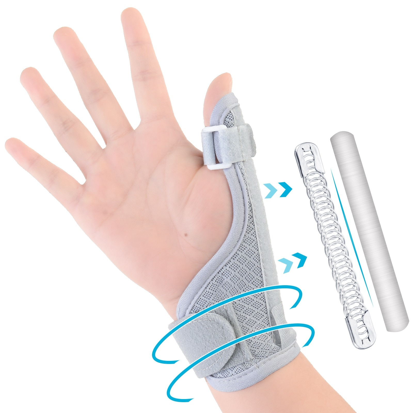 tcare reversible sports wrist brace thumb stabilizer adjustable wrist support wrap volleyball badminton basketball weightlifting Thumb Brace Adjustable Two-way Thumb Stabilizer Finger Support Wrist Band Compression Finger Brace for Tendonitis Arthritis