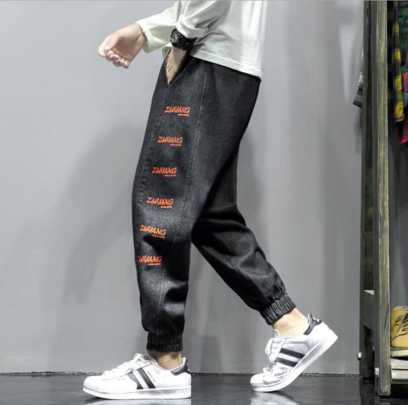 Джинсы мужские осенне-зимние джоггеры, Лоскутные Повседневные тренировочные брюки с кулиской, брюки, мужские классические джинсы для мужчи...