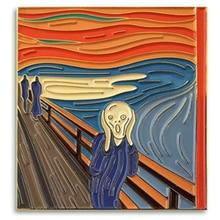 Edvard Munch Lurlo Pittura A Smalto Risvolto Spille, Multi