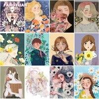 diamond painting kit hand drawn illustration long hair flowers maiden cross stitch kits diamond mosaic needlework crafts artwork