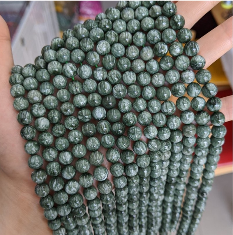 """15,5 """"una cuerda 6mm-12mm Natural verde auténtico seraphinita piedra cuentas sueltas para el diseño de la joyería DIY"""