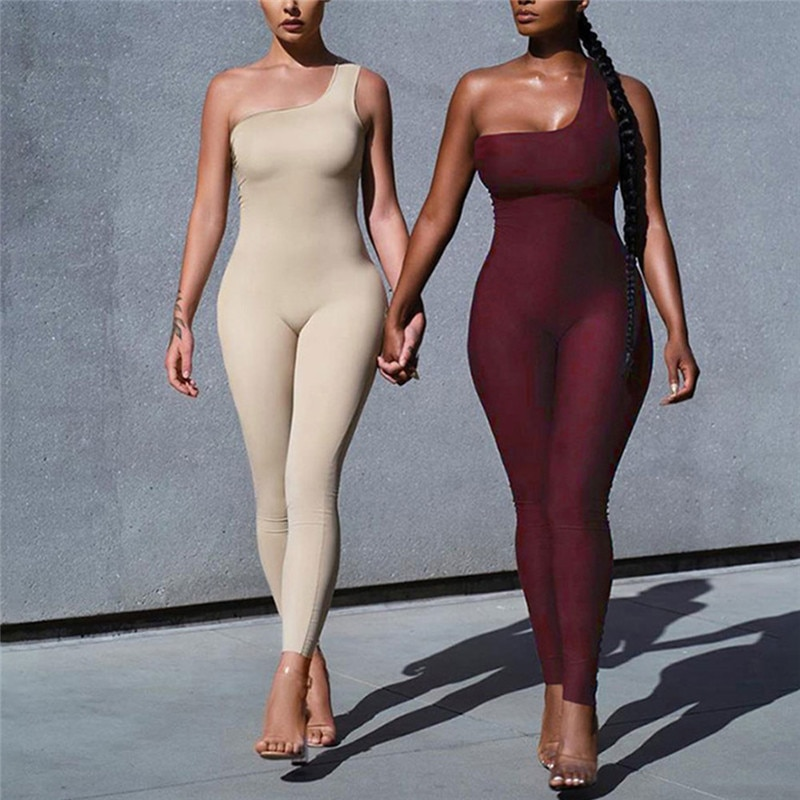 Off Shoulder Single Strap Sexy Women Jumpsuit Rompers 2020 New Solid Color Bodycon Sports Jumpsuit Long Pants Summer Outwear