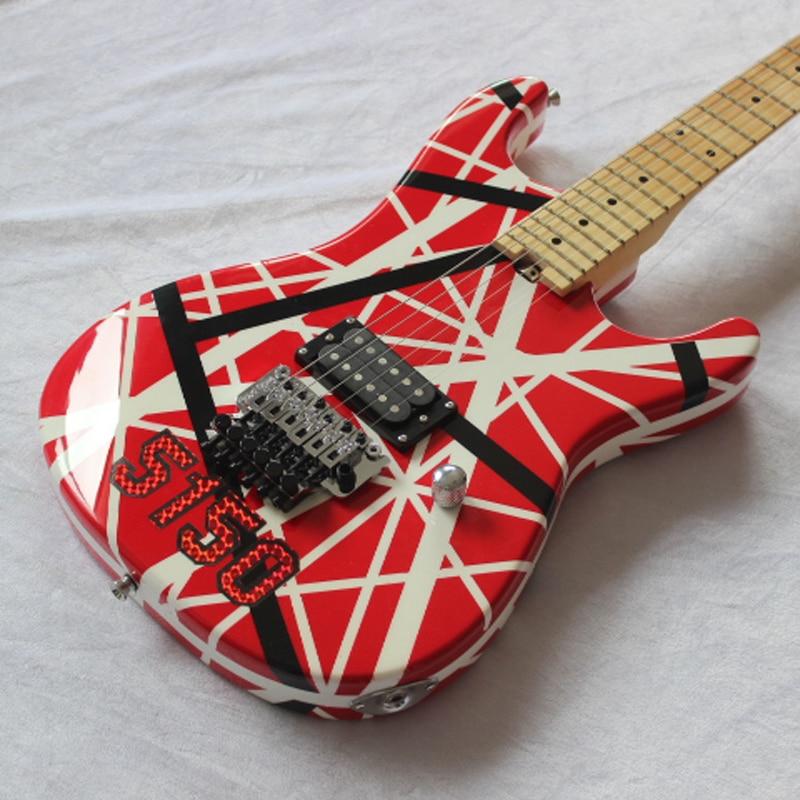 Edward van halen 5150 guitarra elétrica vermelha/listra preta branca/com capa dura