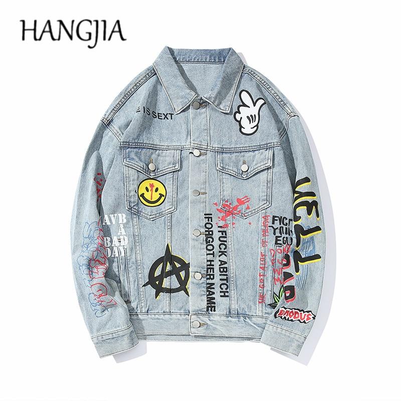 Harajuku-جاكيت جينز رجالي ، هيب هوب جرافيتي ، لباس خارجي ، ملابس الشارع ، حروف مطبوعة ، معاطف ريترو
