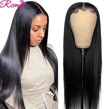 Peluca de cabello humano liso de 13x4, postizo de encaje frontal, transparente, HD, prearrancado, pelo de bebé, brasileño, Remy, 150%