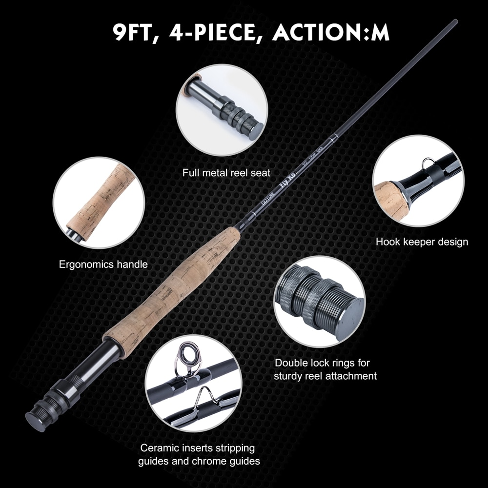 Goture Fly Fishing Reel Rod Combo 5/6M CNC Machined Fly Reel Carbon Fiber Fly Rod Fly Line Lures with Tackle Box Triangle Tube enlarge