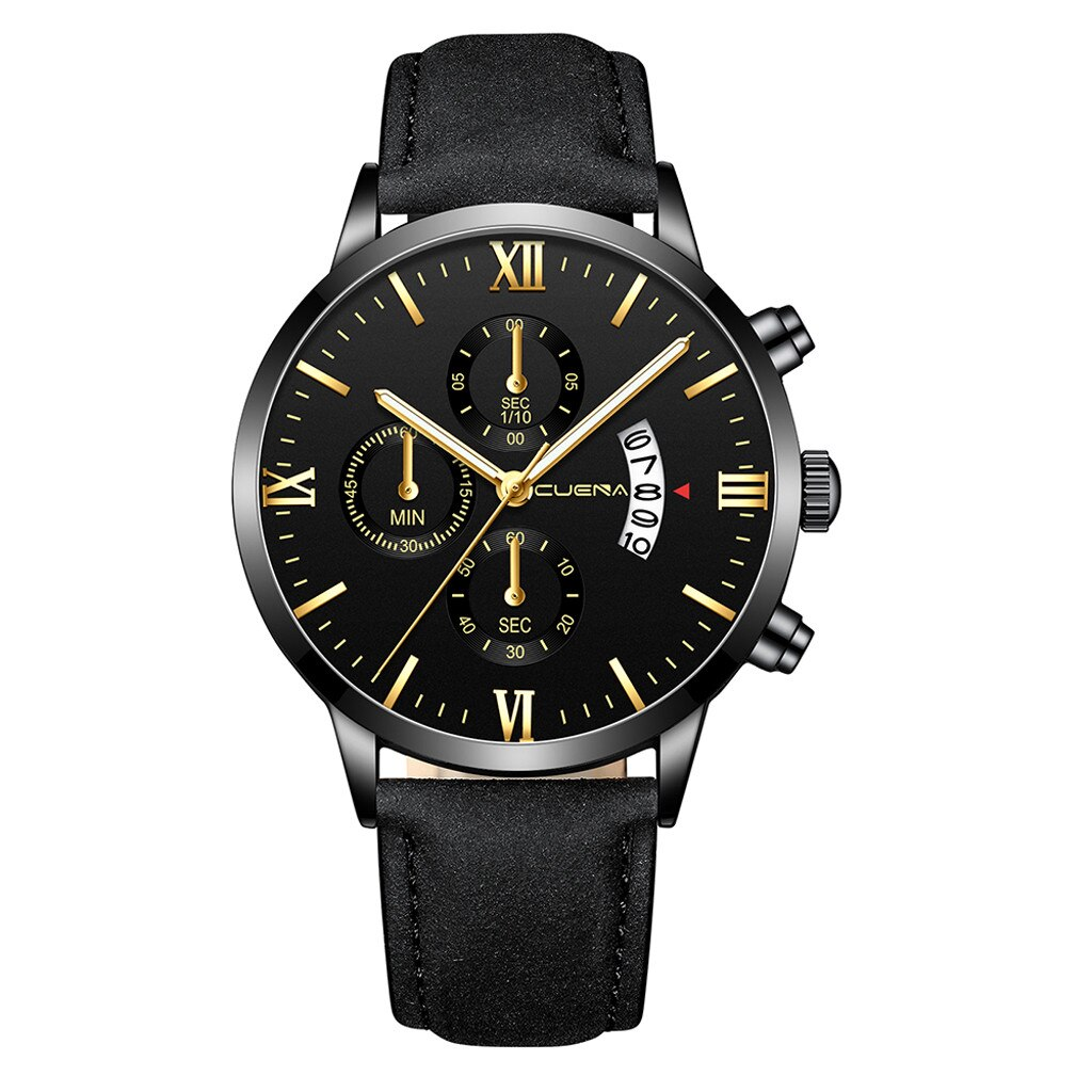 Business Watches Men Fashion Sport Stainless Steel Case Leather Band Watch Scale Dial Quartz Business Wristwatch Montre Homme@5