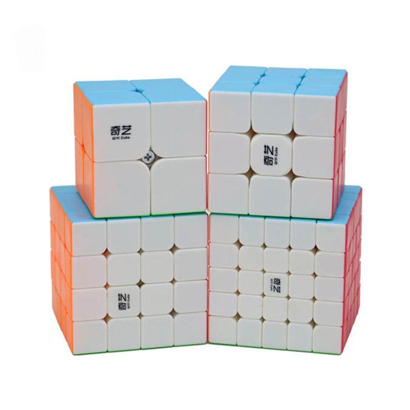 Qiyi مجموعة مكعبات السرعة السحرية 2x2x2 3x3x3 4x4x4 5x5x5 الهرم انحراف Megaminx Mastermorphix التعبئة لغز 4 قطعة مكعب هدية لعب الاطفال