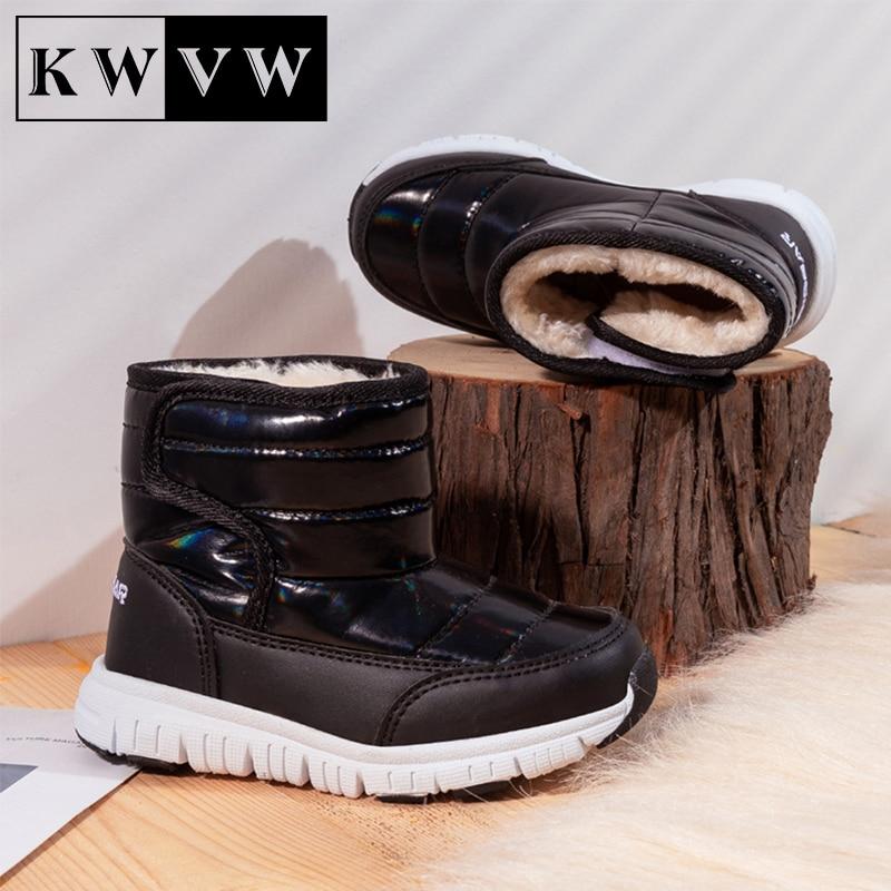 Chaussures de neige d'hiver en coton pur pour enfants, en cuir et velours, bottines d'extérieur antidérapantes, chaudes, pour garçons et filles
