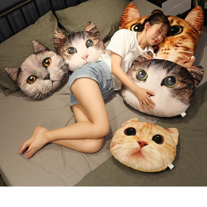 Almohada de felpa con cabeza de gato de simulación en 3D, juguete lavables suaves, muñeco de peluche, juguete para niños, almohada para sofá, decoración para el hogar, regalo de cumpleaños