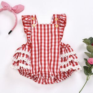 PUDCOCO One-piece Newborn Baby Girl Outfits Sleeveless Red Plaid Romper Lace Ruffle Playsuit 0-24M