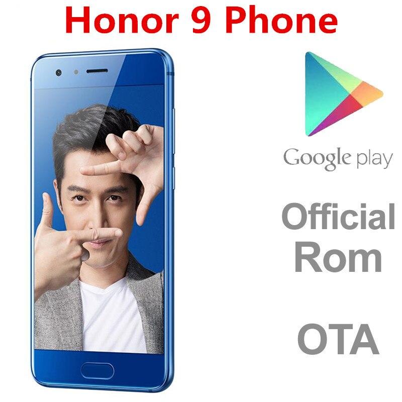 Dhl entrega rápida honra 9 4g lte telefone inteligente 20.0mp android 7.0 kirin 960 6gb ram 128gb rom impressão digital firmware internacional