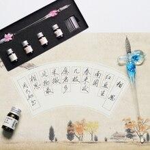 Glas Kalligrafie Pen Kristal Glas Dip Inkt Pen Set Non-Carbon Inkt Handtekening Pennen Schrijven Tools SP99