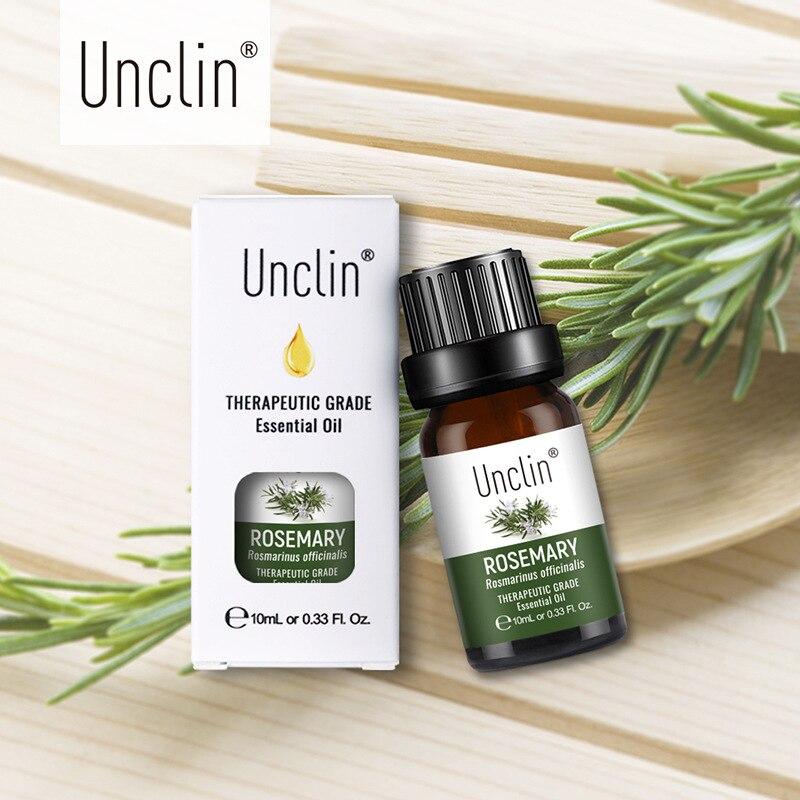 Unclin 10ml aceites esenciales puros de Romero con caja de regalo humidificador de cuidado del cabello aromaterapia aceite esencial de masaje para aliviar el estrés