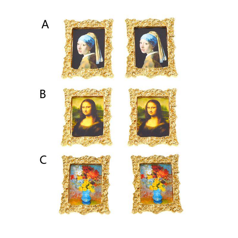 DaVinci Mona Lisa pintura al óleo arte Marco de retratos Stud pendientes Marco de retratos mujeres joyería de moda