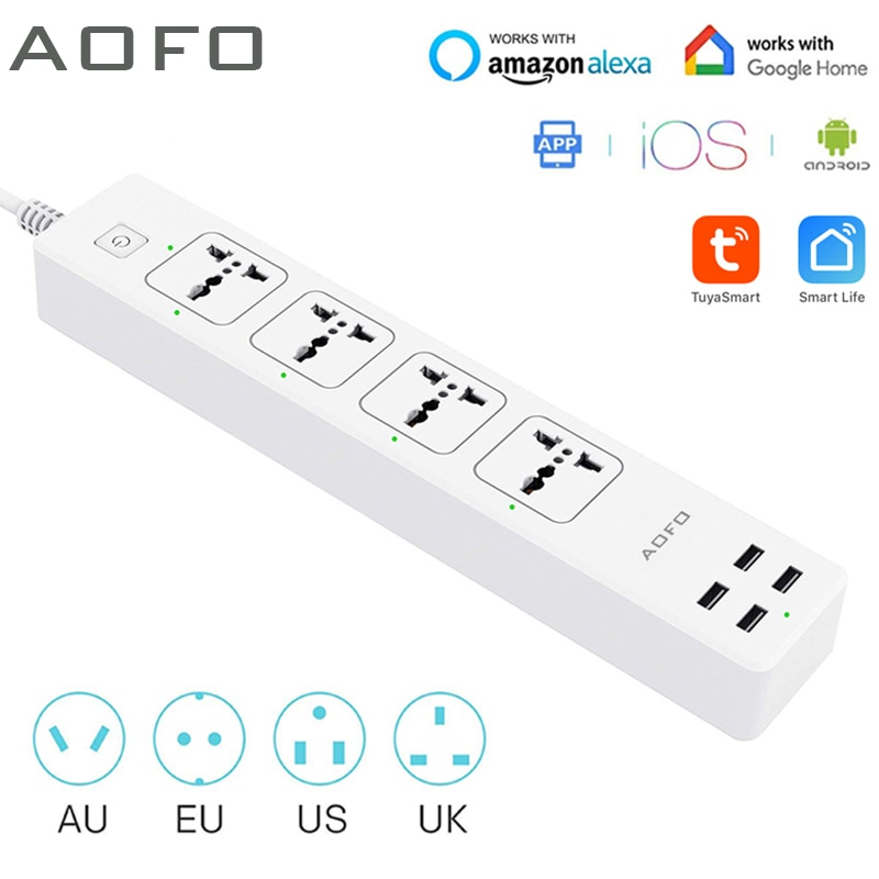 aliexpress.com - Universal Smart Power Strip WiFi Works with Alexa, GoogleHome, Multi Plug with 4 AC Outlets & 4 USB Charging Ports,Voice Control