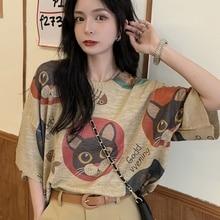 Design of new Tops cat T-shirt summer 2021 printed thin ice silk knitted short sleeve women's fashio