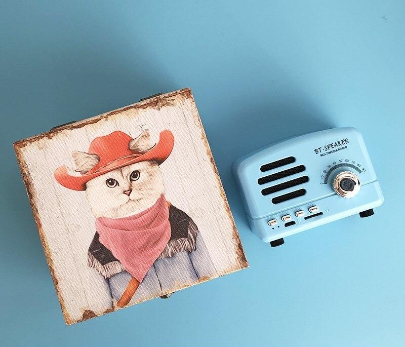 ICL BT-Speaker Sky blue Bluetooth Speaker Mini Retro Coffee brown Wireless Music Radio Player Valentines Day gift