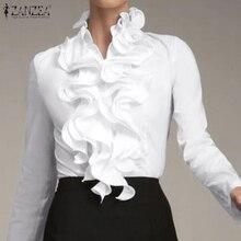S 3XL ZANZEA Damen Chic Tunika Tops Frühling Büro Rüschen Shirts Frauen Langarm Elegante Arbeit Volant Bluse Weibliche Blusas Blusen & Hemden    -