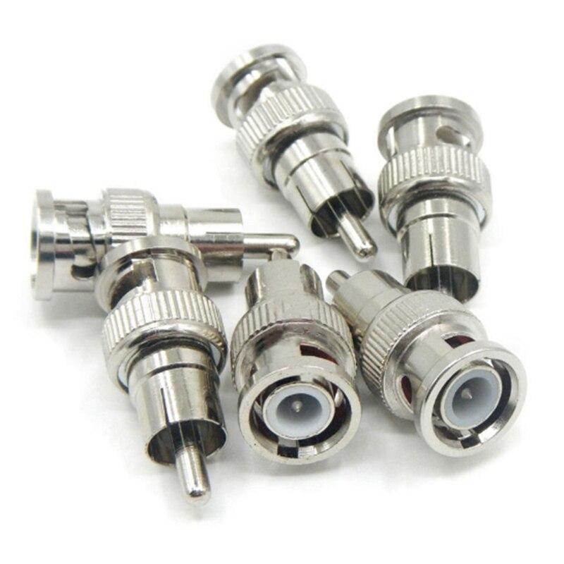 5 unids/set macho BNC a RCA adaptador de conector coaxial macho acoplador de Cable para cámara CCTV